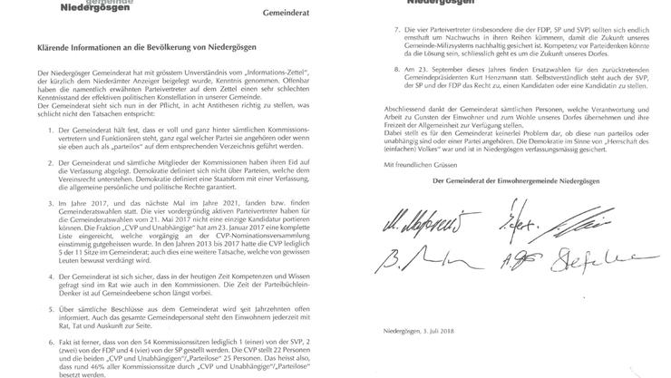 Flugblatt vom Gemeinderat Niedergösgen