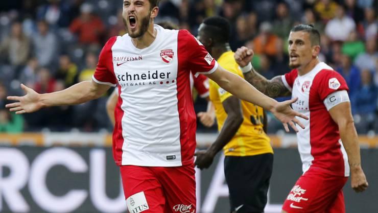 Roy Gelmi jubelt nach seinem Treffer zum 2:0 im Stade de Suisse gegen YB