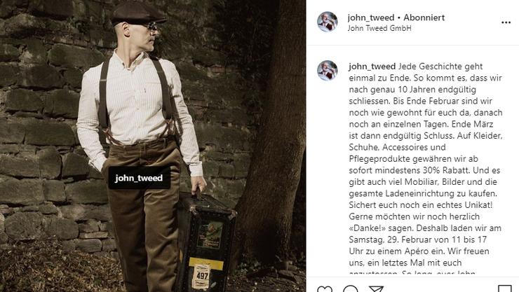John Tweed in Basel schliesst.