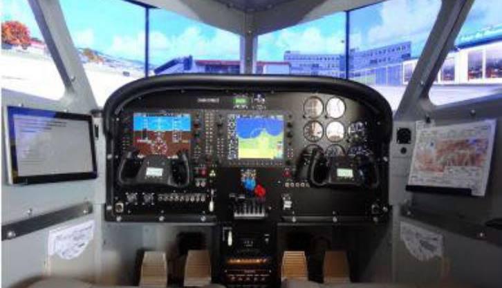 Blick ins Cockpit einer Piper: Zwei Steuerruder. Der Fluglehrer kann jederzeit eingreifen.