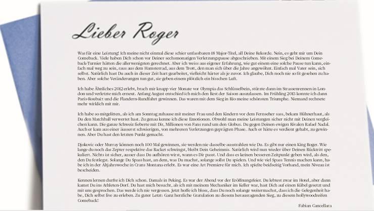 Ein Gratulationsbrief von Fabian Cancellara an Roger Federer.