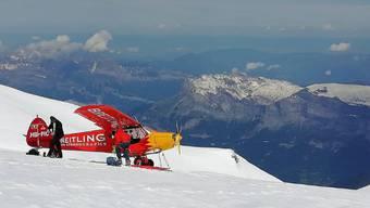 Die Piper landete unterhalb vom Mont-Blanc-Gipfel