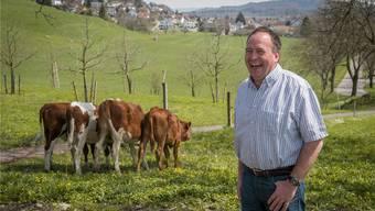 Der neue Aargauer Bauern-Präsident Alois Huber kann auch herzhaft lachen, hier, weil ihm die Rindviecher das Hinterteil zeigen.