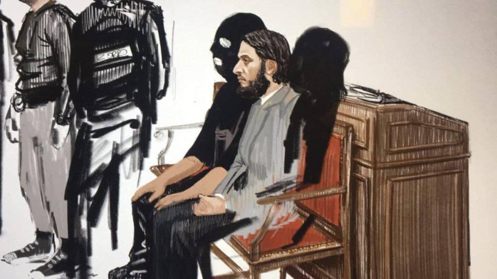 Prozessauftakt in Brüssel: Gerichtszeichnung der beiden Angeklagten Salah Abdeslam (r.) und Soufiane Ayari.