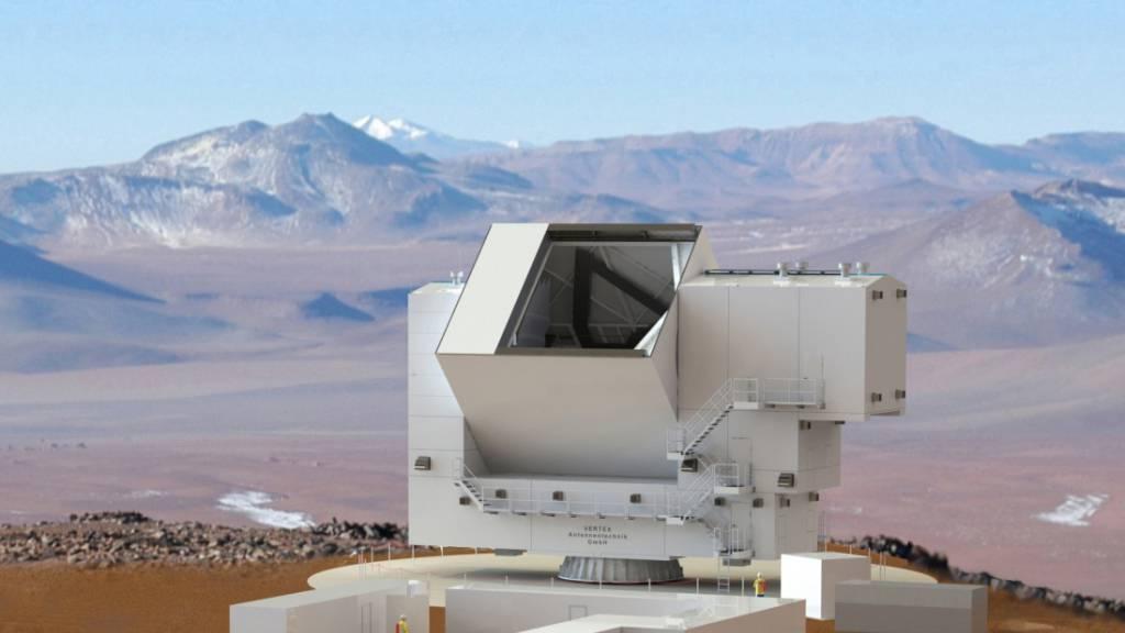 Modell des Fred Young Submillimeter Telescope (FYST), wie es seit 10 Jahren in Planung ist. Nachdem die Finanzierung erst seit kurzem gesichert ist, wird mit «first light» nicht vor 2022 gerechnet. (Pressebild)