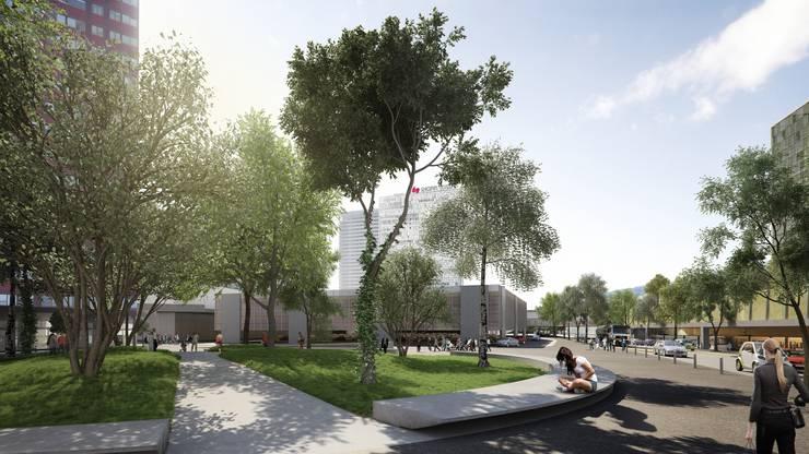 Attraktiver Ankunftsort im Zentrum – Blick von der Landstrasse in Richtung Center Mall.