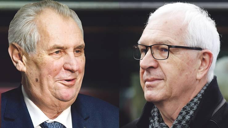 In Tschechien kommt es zum Kopf-an-Kopf-Rennen um die Präsidentschaft zwischen Zeman (l) und Drahos