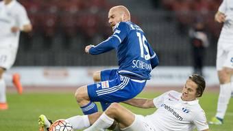 Hauptbeteiligte beim Tor: Cédric Brunner (rechts) und FCL-Torschütze Marco Schneuwly