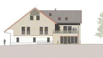 Um- und Ausbau Kindergarten Stetten. Visualisierung Fassade Nord-Ost