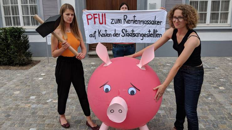Protest der Juso gegen Rentenkürzung.