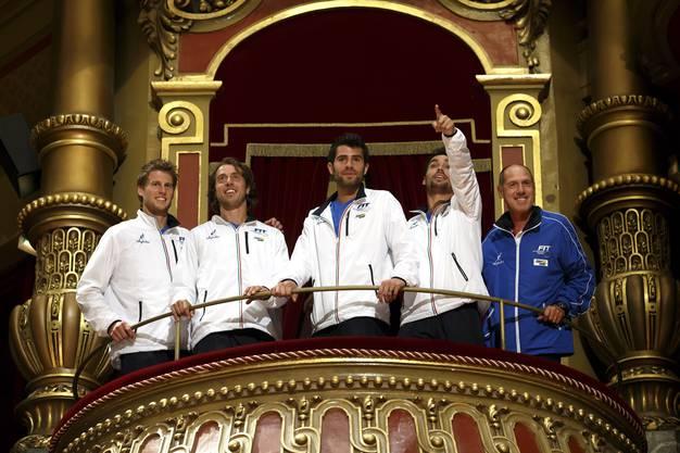 Das italienische Team auf dem Balkon