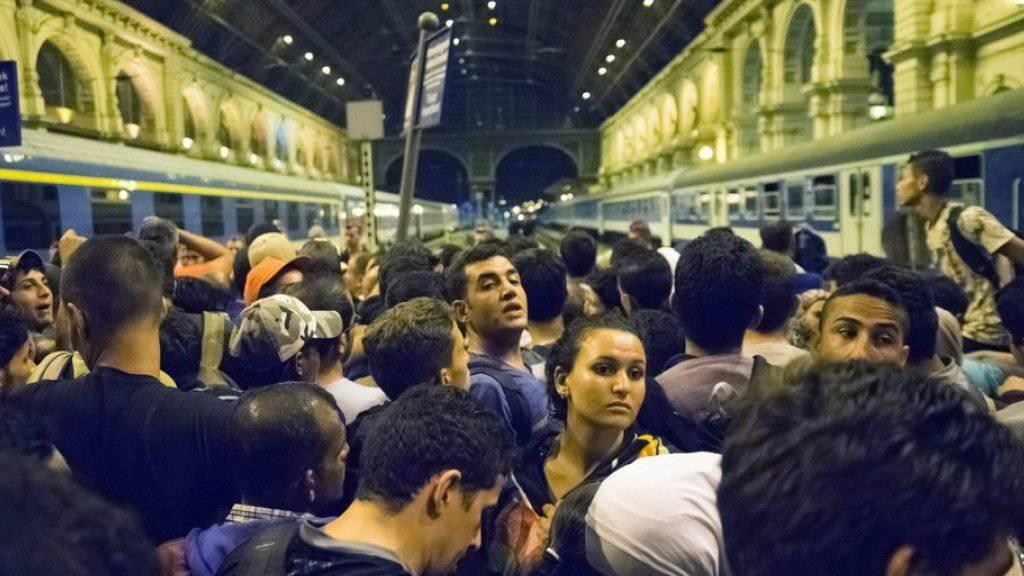 In Budapest gestrandete Flüchtlinge versuchen im Keleti-Bahnhof auf einen der Züge in Richtung Westeuropa zu gelangen. Unterdessen hat die ungarische Polizei den Bahnhof geräumt: Bis auf weiteres würden keine Züge mehr abfahren oder ankommen, hiess es