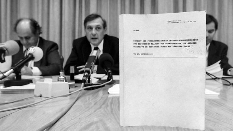 Mitglieder der Parlamentarischen Untersuchungskommission (PUK) zur geheimen Widerstandsorganisation P-26 geben am 24. November 1990 eine Pressekonferenz. Die P-26 beschäftigt die Politik auch heute noch. (Archivbild)