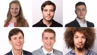 Joya Süess, Noah Zurfluh, Manuel Mühlberg, Jan Patrick Hunziker, Sascha Baschung und Miguel Vogt kandidieren für einen der beiden Einwohnerräte in Brugg und Windisch.