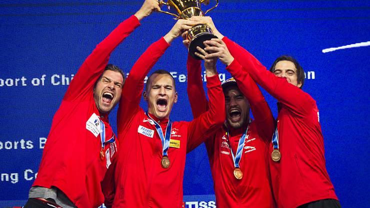 Das Schweizer Goldquartett von 2018: Benjamin Steffen, Lucas Malcotti, Max Heinzer und Michele Niggeler (von links)