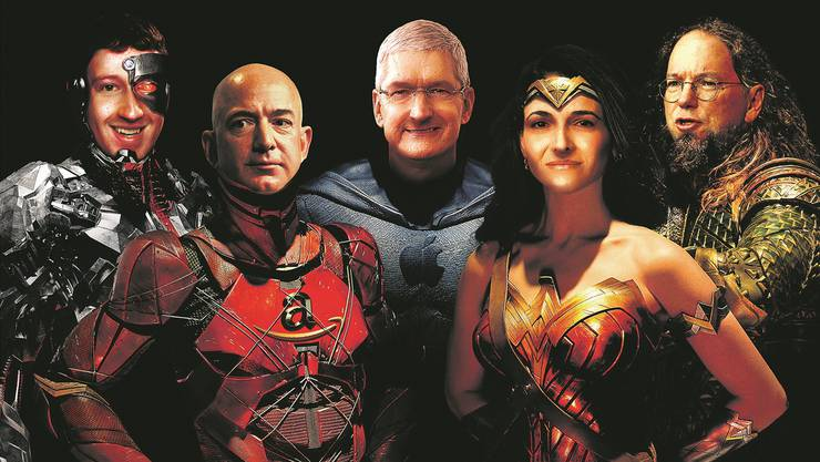 Gerechtigkeitsliga der Firmen: «Cyborg» Marc Zuckerberg, Facebook (ganz links); «The Flash» Jeff Bezos, Amazon; «Batman» Tim Cook, Apple; «Wonder Woman» Sheryl Sandberg, Facebook; und «Aquaman» Eric Schmidt, Google. Illustration: Marco Tancredi