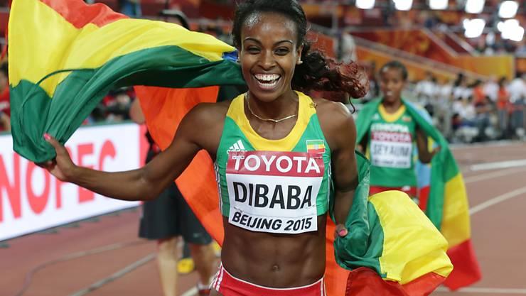 Genzebe Dibaba nach ihrem Sieg über 1500 m an den Weltmeisterschaften in Peking