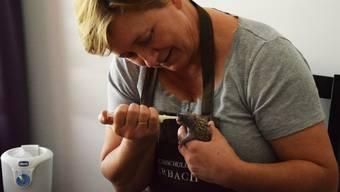 Allison Schulz füttert eines der sechs Igelbabys, die derzeit auf ihrer Station sind, mit Hundewelpenmilch. Sie ist voller Hingabe bei der Sache, selbst wenn sie das alle drei Stunden machen muss.