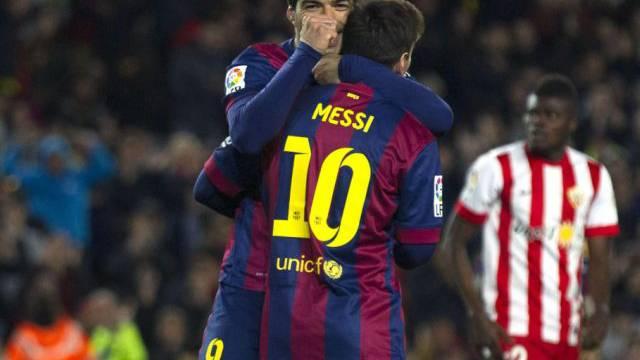 Suarez umarmt Messi: Drei der vier Barça-Tore gehen auf ihr Konto