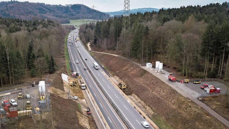 Die Arbeiten für den 50 Meter breiten Wildtierübergang über die A1 zwischen Gränichen und Suhr laufen.