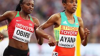 Hellen Obiri und Almaz Ayana lieferten sich lange Zeit ein Kopf-an-Kopf-Rennen