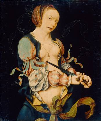 Busenfrei und mit geschlitzten Ärmeln: «Der Selbstmord der Lucretia» (1515–1518) von Joos van Cleve.