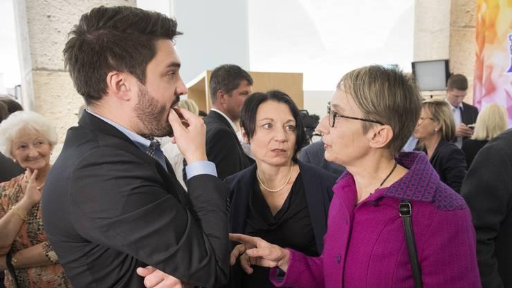 SP-Politiker unter sich: Cédric Wermuth, Yvonne Feri und Elisabeth Burgener.