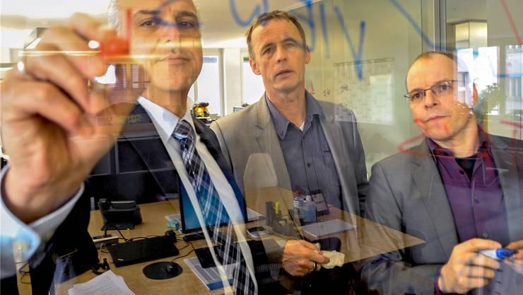 Das Adobe-Chefteam Basel (von links): Angelo Buscemi, Florian Schaulin und Jean-Michel Pittet.