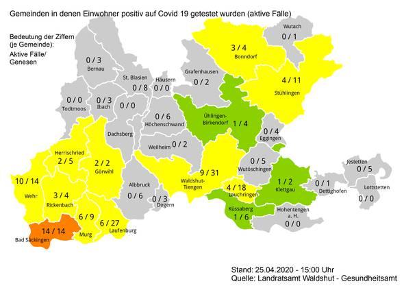 Landkreis Waldshut: Stand der Covid-19-Fälle am 25. April 2020.