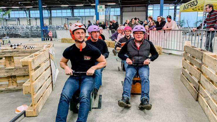 Ready fürs Indoor-Bierkistenrennen in Wolfwil?