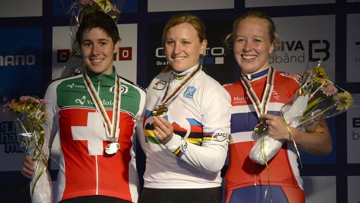 Linda Indergand und Kathrin Stirnemann holen Silber und Gold für die Schweiz, Ingrind Jacobsen Bronze für Norwegen.