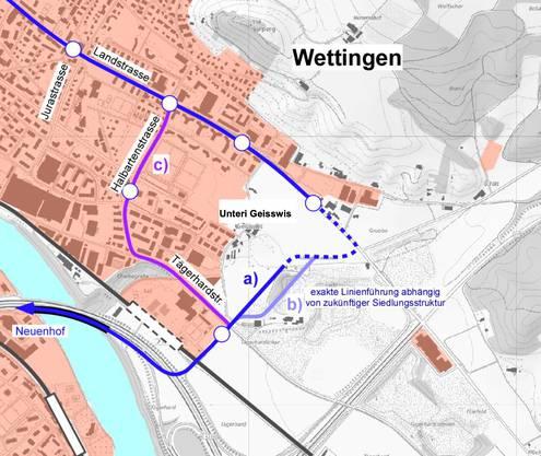 Varianten im Abschnitt zwischen Tägerhard- und Landstrasse: a) westlich Lugibach, b) östlich Lugibach, c) in Tägerhard-/Landstrasse
