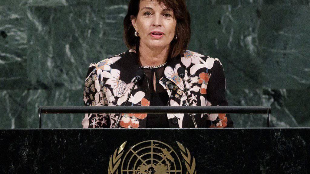 Bundespräsidentin Doris Leuthard bei ihrer Rede vor der UNO-Vollversammlung am Dienstag in New York.