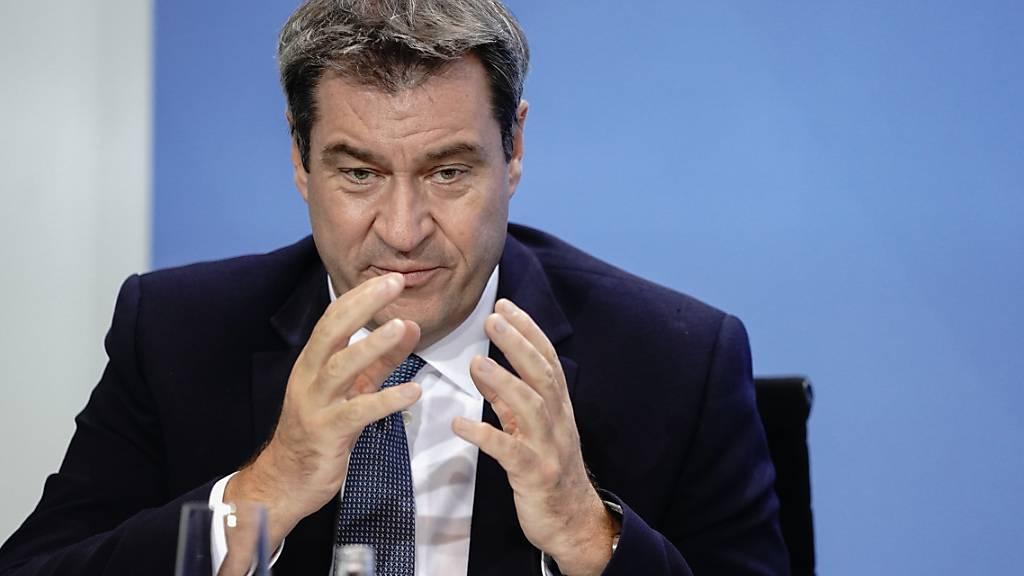 Markus Söder (CSU), Ministerpräsident von Bayern und CSU-Vorsitzender, spricht in der Pressekonferenz. Foto: Kay Nietfeld/dpa