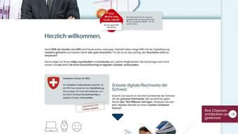 Mit Gipfeli und Bundeswappen wirbt Localsearch um Kunden.