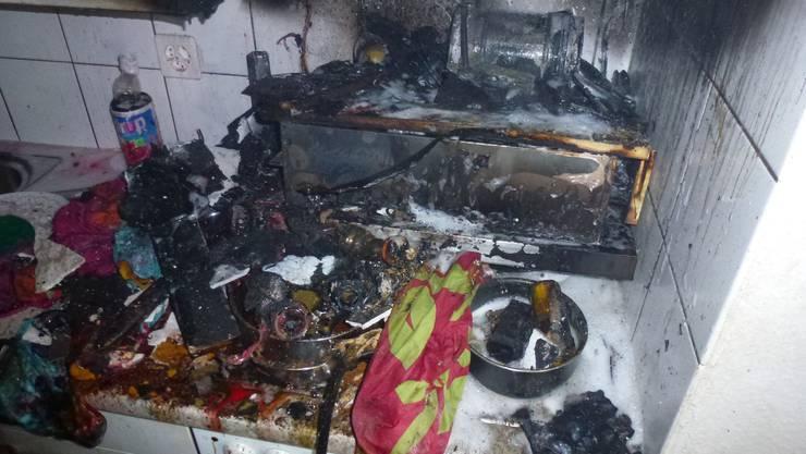 Die Küche ist zerstört.
