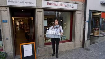 Kathrin Steinmann, Geschäftsführerin der Buchhandlung Otz in Lenzburg ist auf Heimlieferungen umgestiegen.