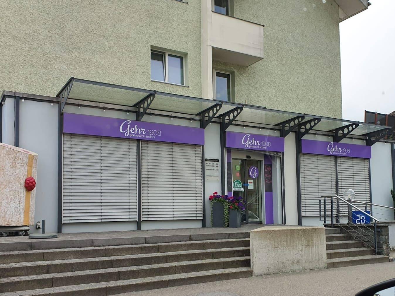 Verschlossene Rollläden – alle sechs Filialen der Bäckerei Gehr sind geschlossen.
