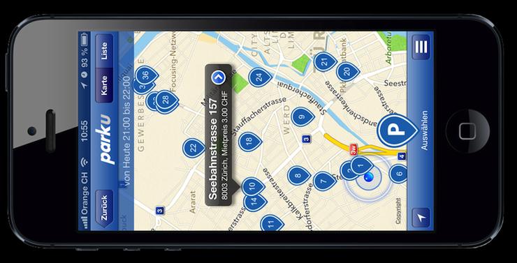 Das App: Die Parkplätze auf einen Blick