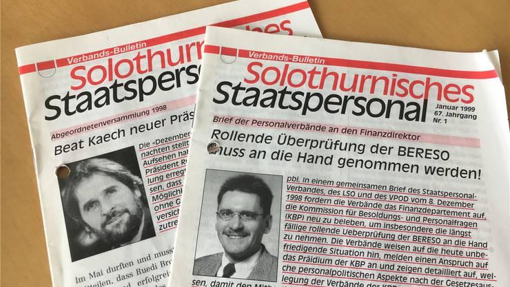 Abgebildet vor rund 20 Jahren im Bulletin des Staatspersonalverbandes: Der frisch gewählte Präsident Beat Käch (links) und Verbandssekretär Pirmin Bischof.