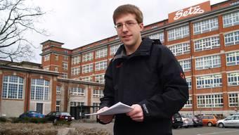 Kantonsschüler Marius Vögtli widmet seine Maturarbeit der ehemaligen Schuhfabrik Bally. aw