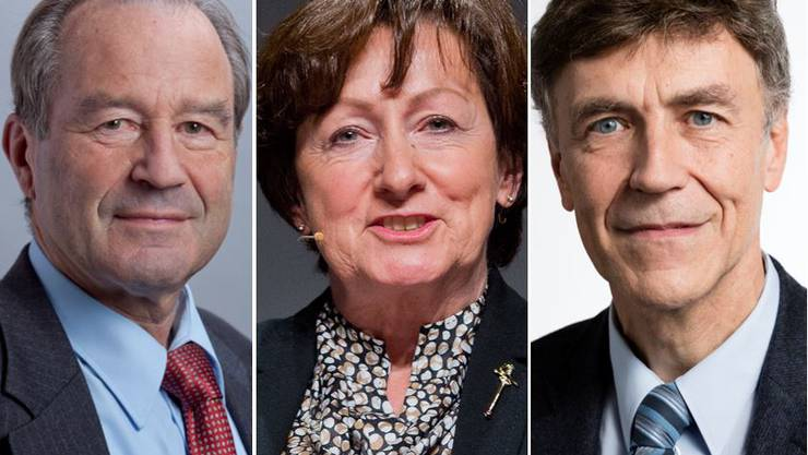 Altgediente SVP-Nationalräte: Maximilian Reimann, Sylvia Flückiger, Luzi Stamm