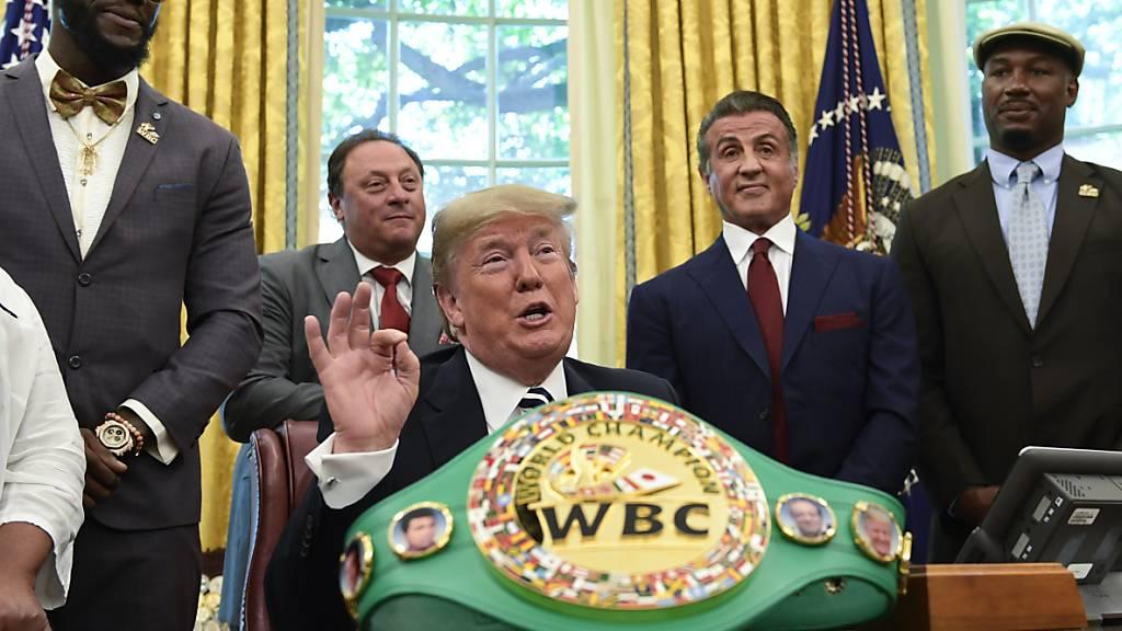 Der frühere US-Präsident Donald Trump (Bildmitte) wird einen Boxkampf zwischen Evander Holyfield und Vitor Belfort kommentieren. (Archivbild)