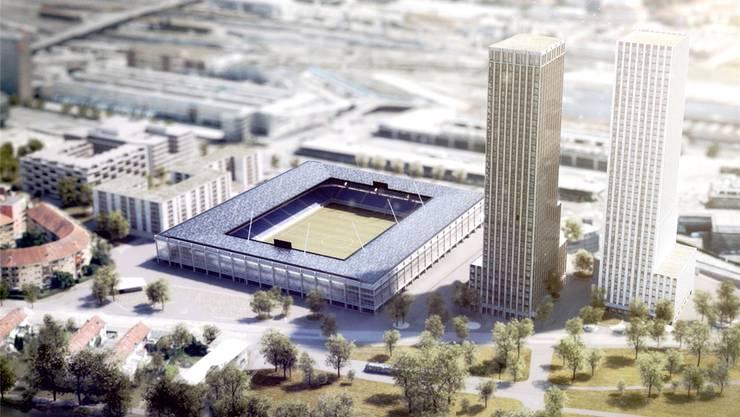 Das Projekt auf dem Zürcher Hardturm-Areal steht auf der Kippe: Die Zürcher SP ist mit dem Bau der beiden 137 Meter hohen Hochhäusern nicht einverstanden.