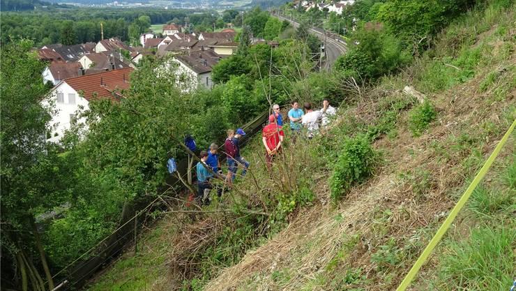 Die steile Bahnböschung unterhalb des Riniker Steigs verlangt von den Helfern einiges ab. H.P.W.