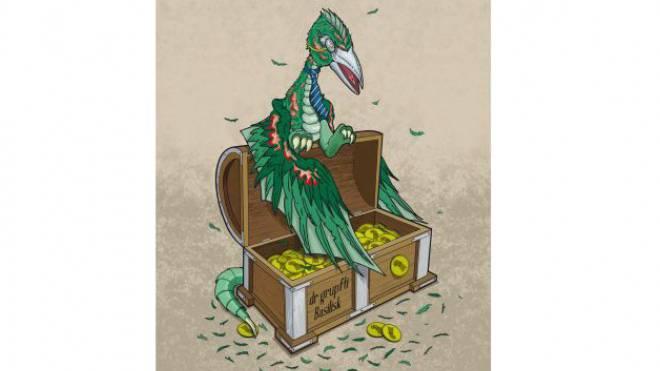 Gegen unnötige Staatsausgaben: Der gerupfte Basilisk. Illustration: zvg