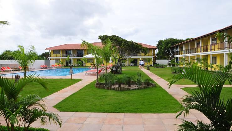 Der abgeschlossene Bereich des «La Torre» mit Swimmingpool. Hier wird die Schweizer Nationalmannschaft während der Fussball-WM in Brasilien wohnen.