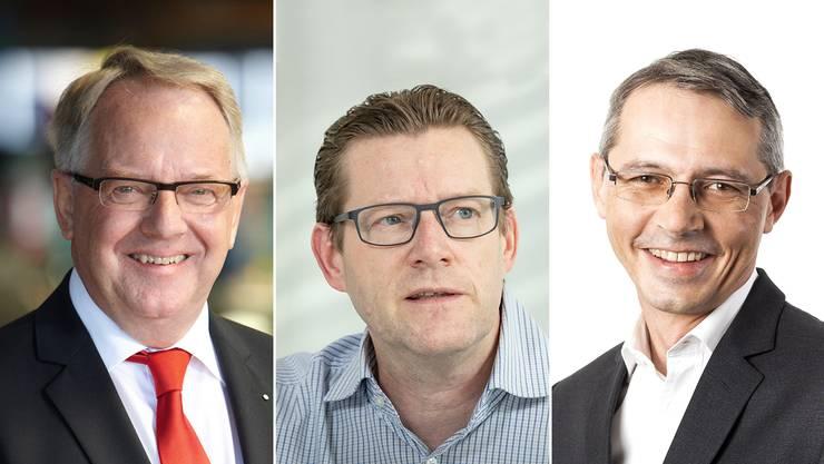 Dass Dietiker Firmen Platzprobleme haben, sei Schuld des Kantons, finden Urs Jenny, Josef Wiederkehr und Alfons Florian (v.l.).