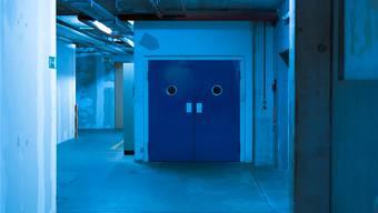 Die Ausstellung findet in Industrieambiente statt.