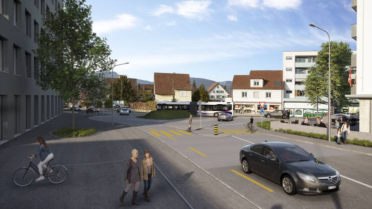Bei der Kreuzung Bavaria soll ein Kreisel entstehen, wie auf der Visualisierung zu sehen ist.
